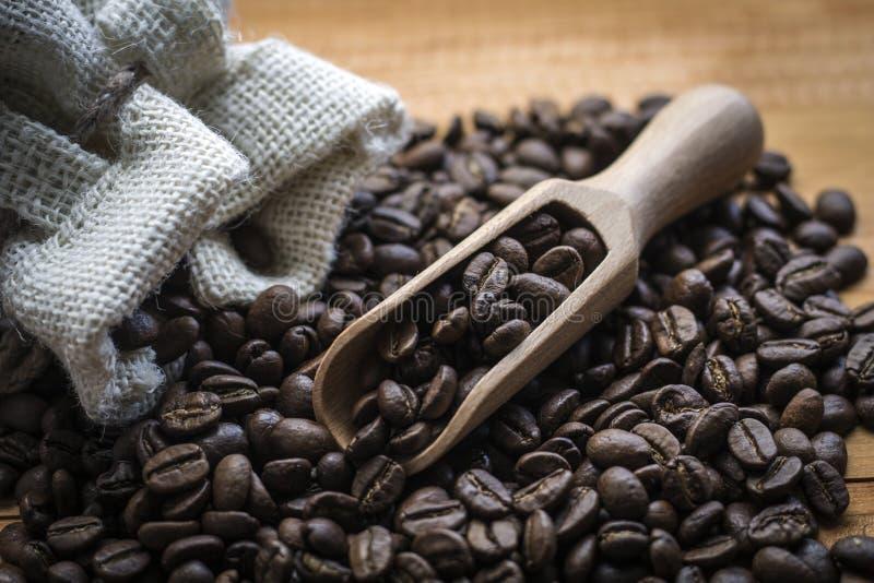Kaffeebohnen mit hölzerner Schaufel lizenzfreies stockfoto