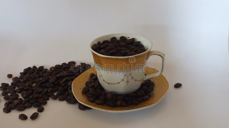 Kaffeebohnen mit schönen Schalen stockbilder
