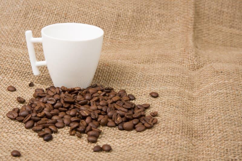 Kaffeebohnen und Cup lizenzfreie stockbilder
