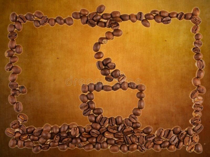 Kaffeebohnen und Cupmuster und grungy Hintergrund stockbild