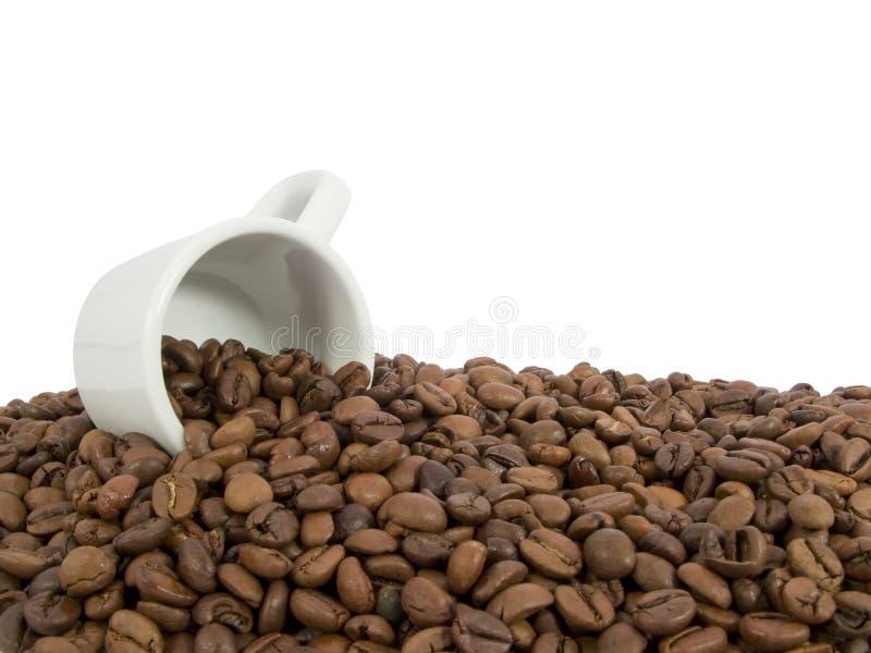 Kaffeebohnen und ein Espressocup lizenzfreies stockfoto