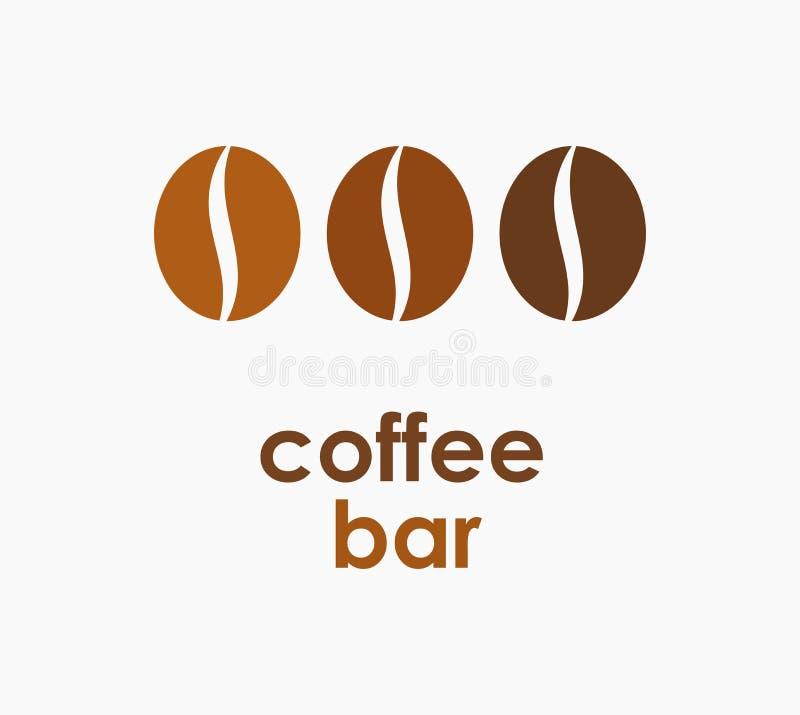 Kaffeebohnesymbol oder -logo stock abbildung