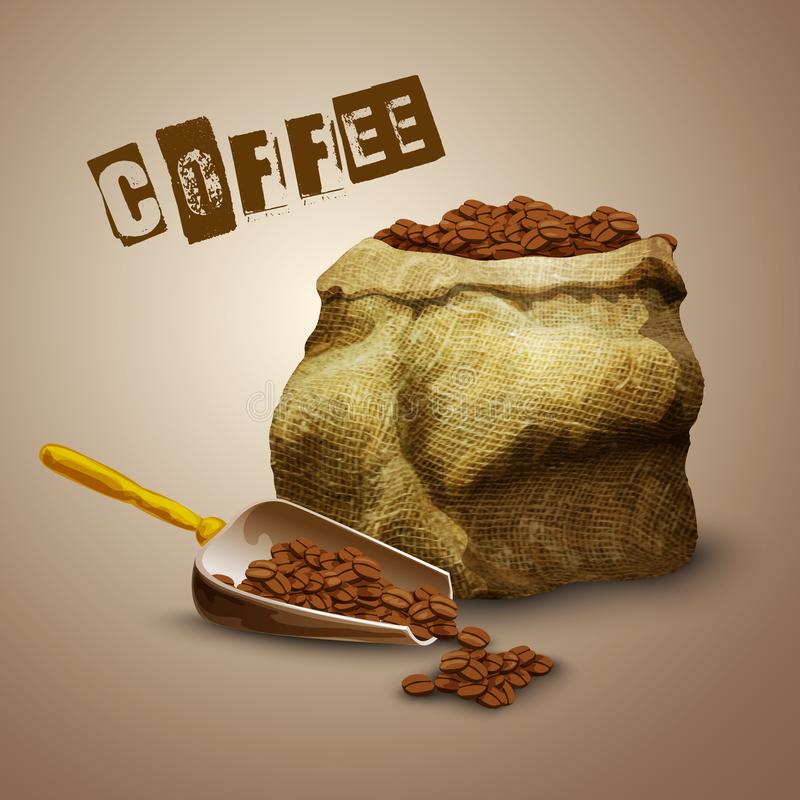 Kaffeebohnetasche stock abbildung