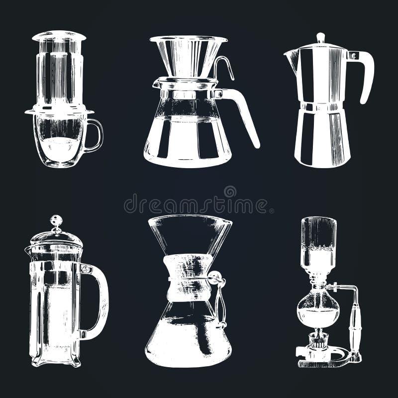 Kaffeebrauenillustrationen des Vektors alternative eingestellt Hand skizzierte verschiedene Kaffeemaschinen Café, Restaurantmenüd stock abbildung