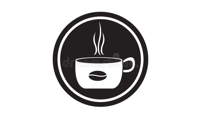 Kaffeecaféikone mit Glas und schwarzen Kaffeebohnen stockfotografie