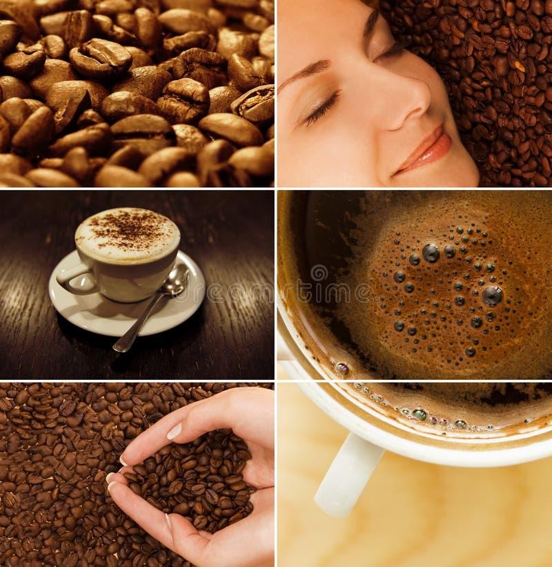 Kaffeecollage stockfotos