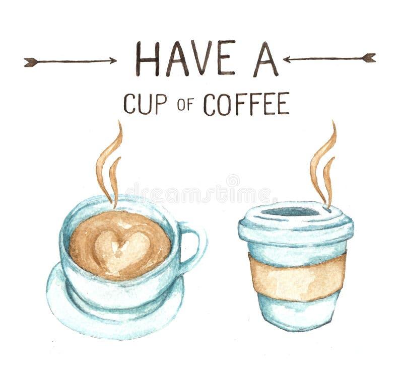 Kaffeeelemente, Aquarellfarbenhohe auflösung lizenzfreie abbildung