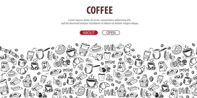 Kaffeefahne mit den Gekritzelelementen des Handabgehobenen Betrages auf dem Hintergrund Kaffeeschablone für Anzeigen lizenzfreie abbildung