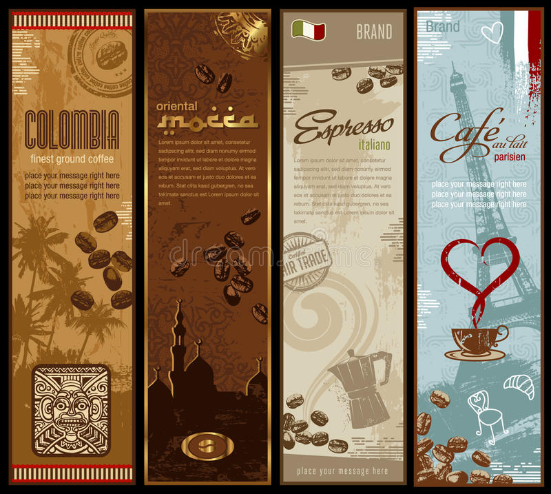 Kaffeefahnen stock abbildung