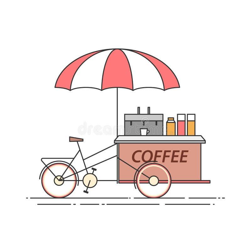 Kaffeefahrrad Warenkorb auf Rädern Lebensmittel und Getränkkiosk Auch im corel abgehobenen Betrag Flache Linie Kunst vektor abbildung