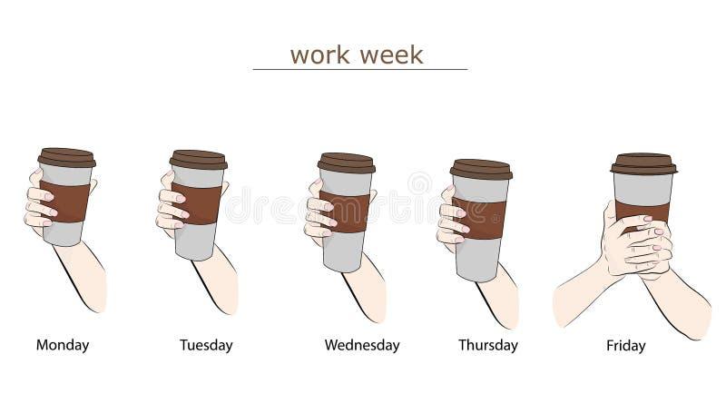 Kaffeegröße während jedes Wochentags Arbeitswoche Auch im corel abgehobenen Betrag stock abbildung