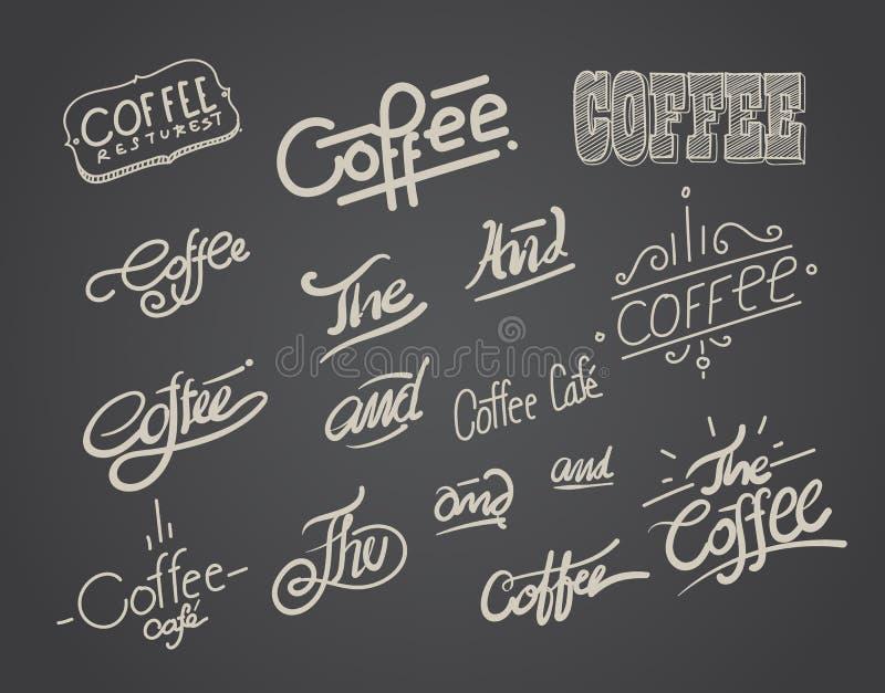 Kaffeehandzeichnungstypographie und -element lizenzfreie abbildung