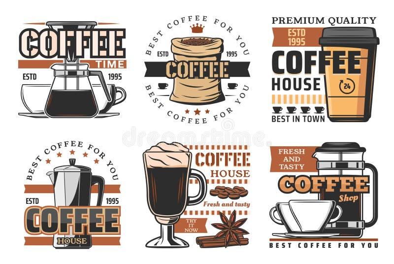 Kaffeehaus, Cafeteria und Produktionsikonen stock abbildung