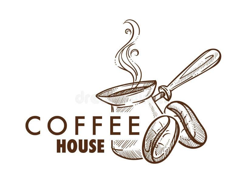 Kaffeehauscafé oder Cafeteria lokalisierte Ikone stock abbildung