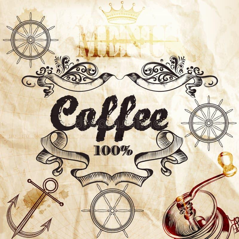 Kaffeehintergrund auf einer alten Papierbeschaffenheit mit Karte und Kaffee Mil stock abbildung