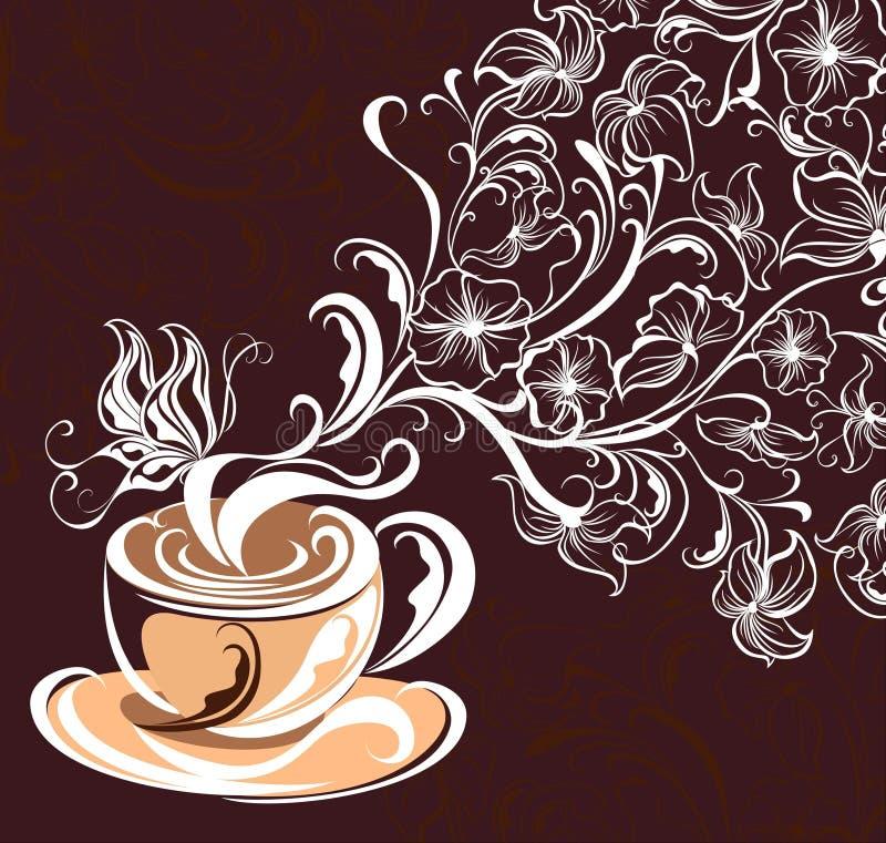 Kaffeehintergrund. Vektorabbildung   lizenzfreie abbildung