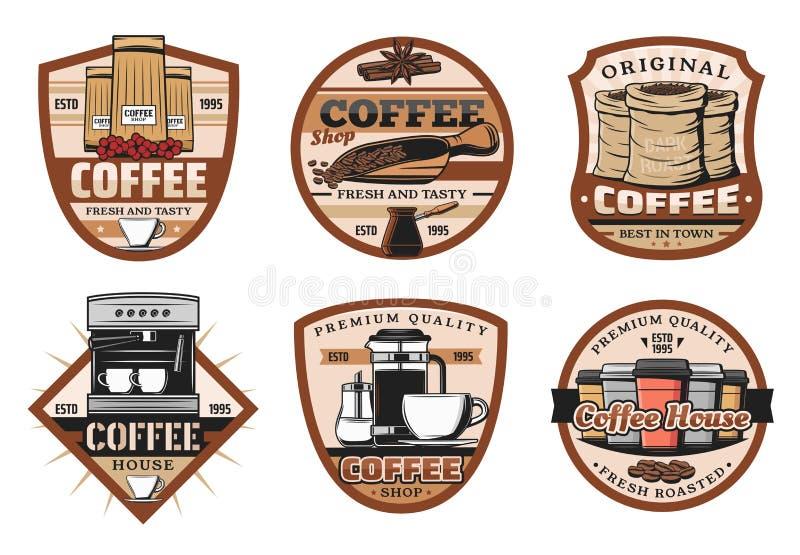 Kaffeeikonen mit Espressoschale und -bohne vektor abbildung