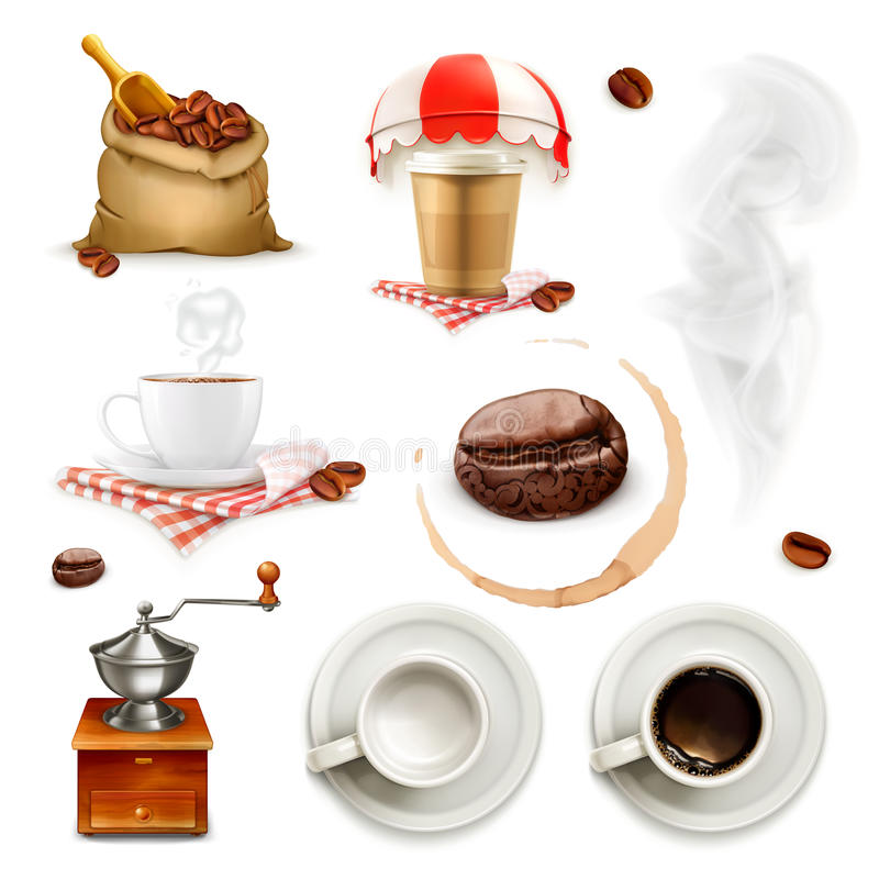 Kaffeeikonen und -elemente lizenzfreie abbildung