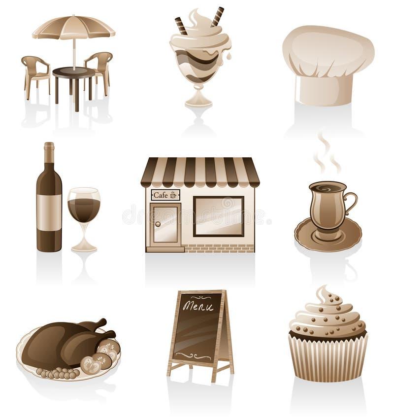 Kaffeeikonenset. stock abbildung