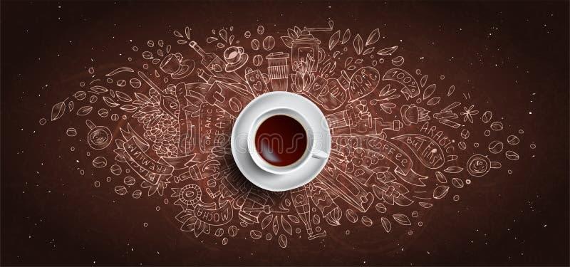 Kaffeekreide veranschaulichte Konzept auf schwarzem Bretthintergrund - wei?e Kaffeetasse, Draufsicht mit Kreidegekritzelillustrat vektor abbildung