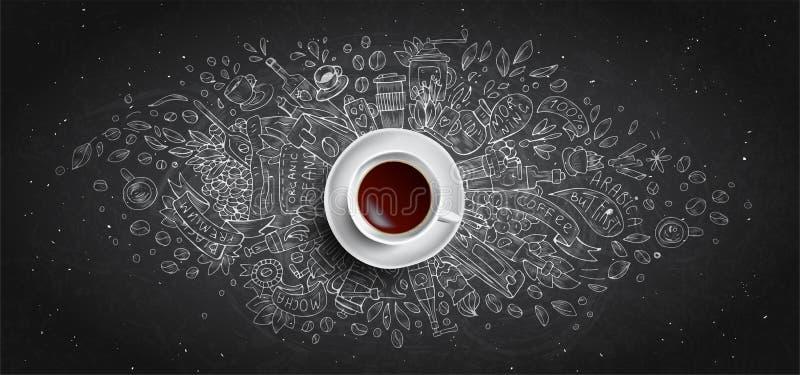 Kaffeekreide veranschaulichte Konzept auf schwarzem Bretthintergrund - wei?e Kaffeetasse, Draufsicht mit Kreidegekritzelillustrat stock abbildung