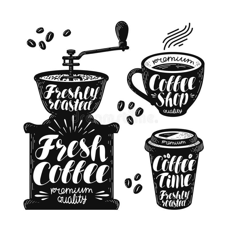 Kaffeemühle, EspressoKennsatzfamilie Café, heißes Getränk, Schalenikone oder Logo Handgeschriebene Beschriftungsvektorillustratio stock abbildung