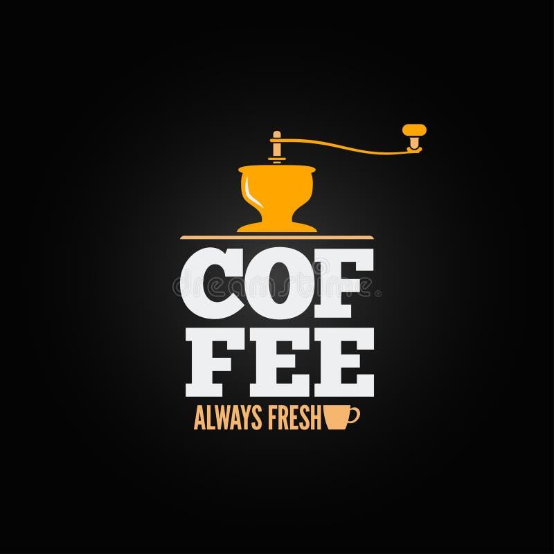 Kaffeemühle-Schleiferschalenmenü-Designhintergrund lizenzfreie abbildung