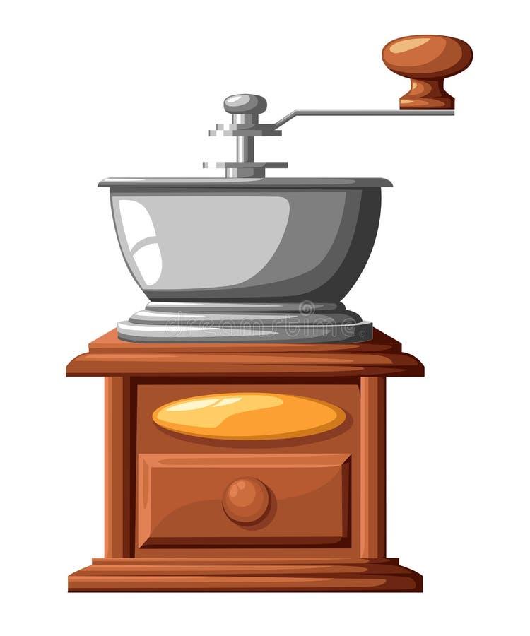 Kaffeemühle-Vektorillustration der klassischen Kaffeemühle manuelle lokalisiert auf weißem Hintergrund lizenzfreies stockbild