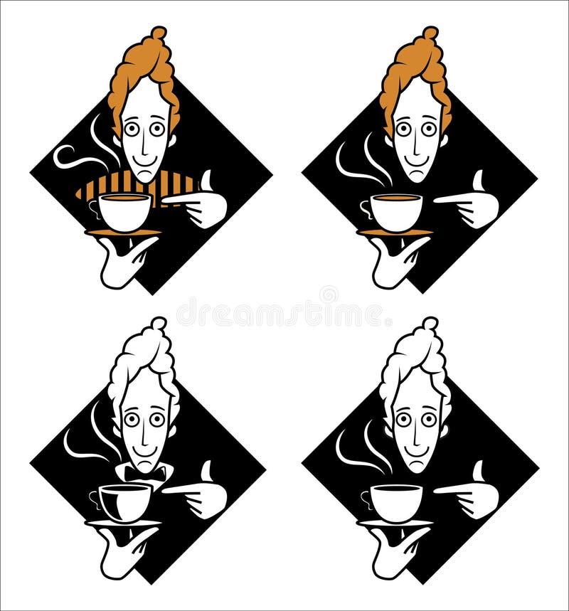 Kaffeemann, der auf Kaffeetasse zeigt lizenzfreie abbildung