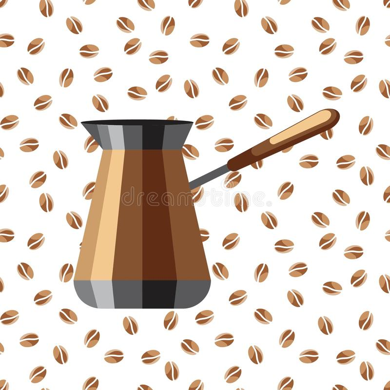 Kaffeemaschine auf einem Hintergrund von Kaffeebohnen Eine Ikone einer Kaffeemaschine auf einem weißen Hintergrund mit Kaffeebohn lizenzfreie stockfotos
