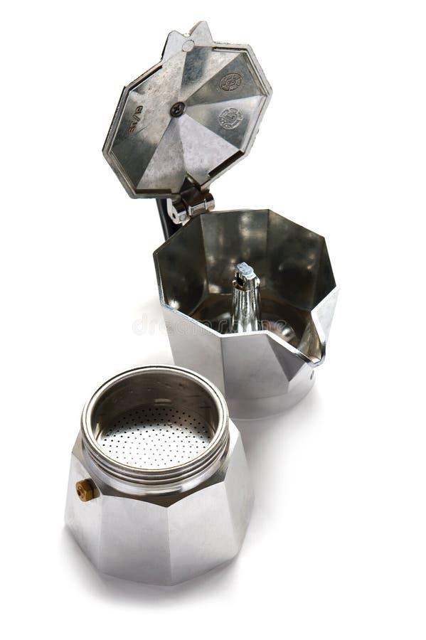 Kaffeemaschine auf Weiß lizenzfreies stockfoto