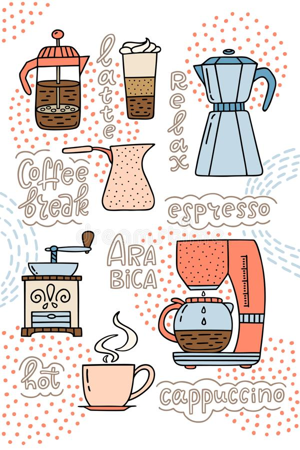Kaffeemaschine, die amerikanische Presse, Kaffeemaschine, Schale espress lizenzfreie abbildung