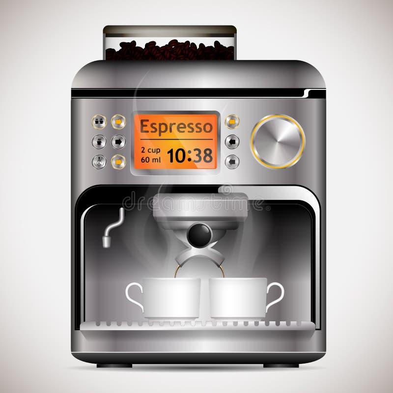 Kaffeemaschine mit Schalen stock abbildung