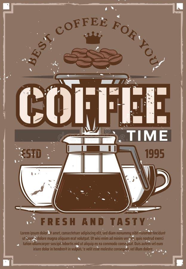 Kaffeemaschine moka Topf, Schalen, Bohnen vektor abbildung