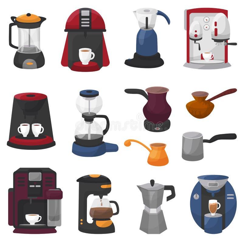 Kaffeemaschinenvektorkaffeeproduzent und -maschine f?r Espressogetr?nk mit Koffein im Caf?illustrationssatz von vektor abbildung