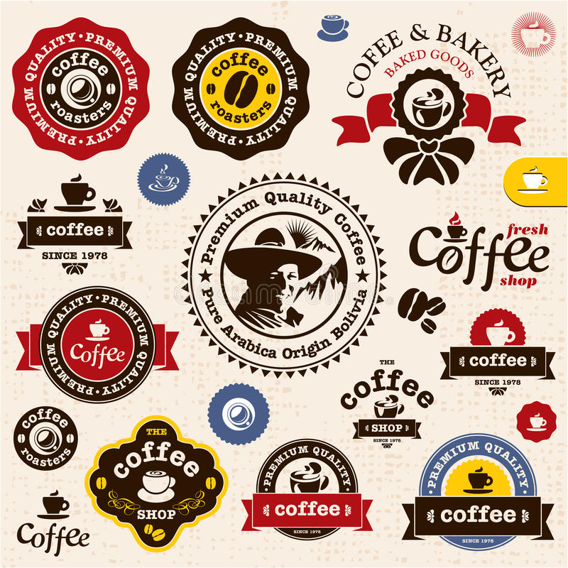 Kaffeemblem och etiketter royaltyfri illustrationer