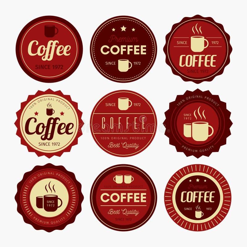 Kaffeemblemdesign stock illustrationer