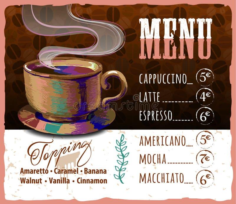 Kaffeemenüdesign in der Weinleseart für Café stock abbildung