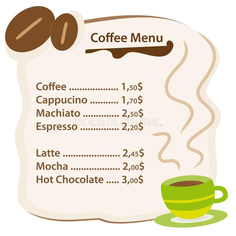 Kaffeemenükarte lizenzfreie abbildung