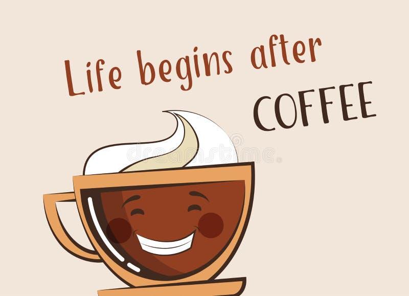 Kaffeemojikopp med roligt citationstecken royaltyfri illustrationer
