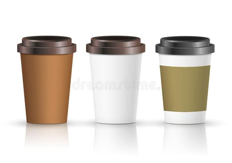 Kaffeepapierschalensatz mit Aufkleber Brown-Plastikbehälter für Getränk Latte-, Mokka- oder Cappuccinoschale für Café Vektorabdec stock abbildung