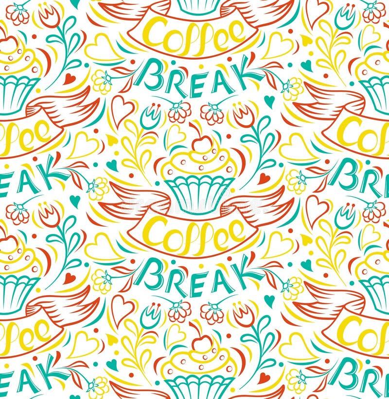 Kaffeepause Kuchenabgehobener betrag befestigte eigenhändig nahtlosen Hintergrund stock abbildung