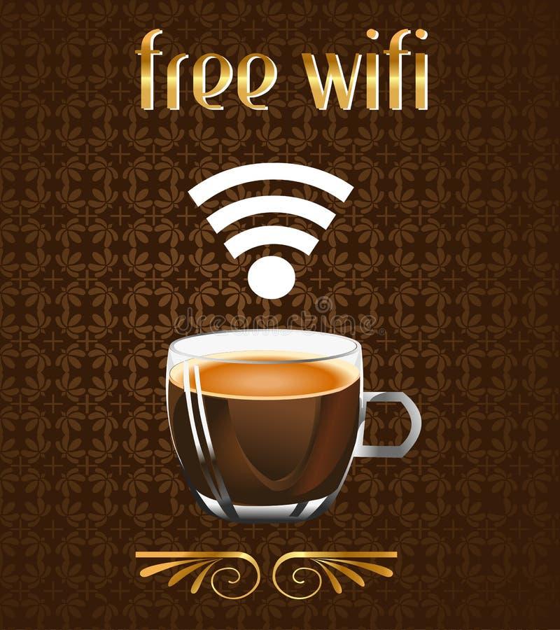 Kaffeeplakat mit freier wifi Mitteilung im Vektor ENV stock abbildung