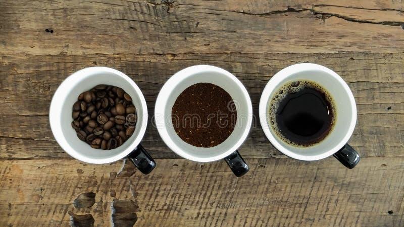 Kaffeeprozeß in 3 Schalen - gebraten, im Schleifen und im Gebräu stockbild