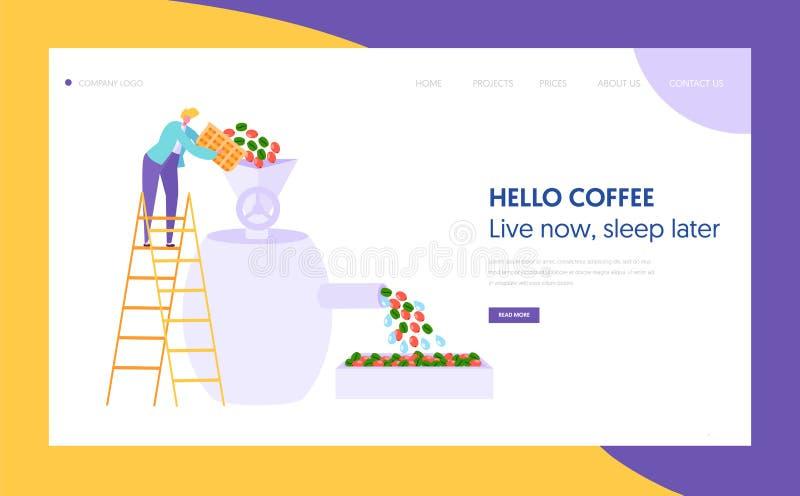 Kaffeeröster-Metallausrüstungs-Landungs-Seite Männliche Rolle gießt Korn Cafeteria-Konzept-Website oder Webseite Kaffee-Industrie stock abbildung