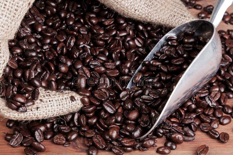 Kaffeesack mit Schaufel und Bohnen. stockfotos