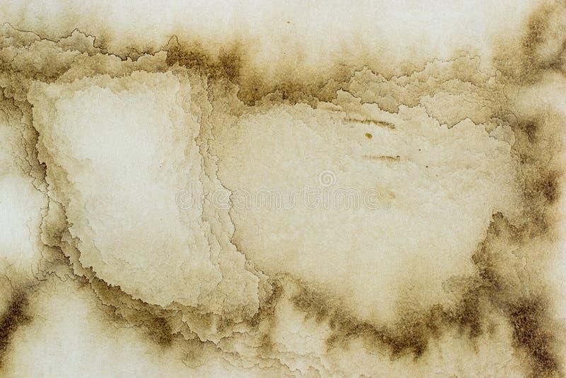 Kaffeeschmutz befleckte Papierbeschaffenheit stockbild