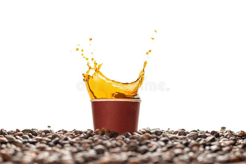 Kaffeespritzen in der braunen Wegwerfpapierschale mit den Kaffeebohnen lokalisiert auf Weiß lizenzfreies stockfoto