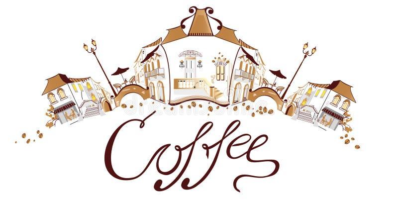 Kaffeestadt vektor abbildung