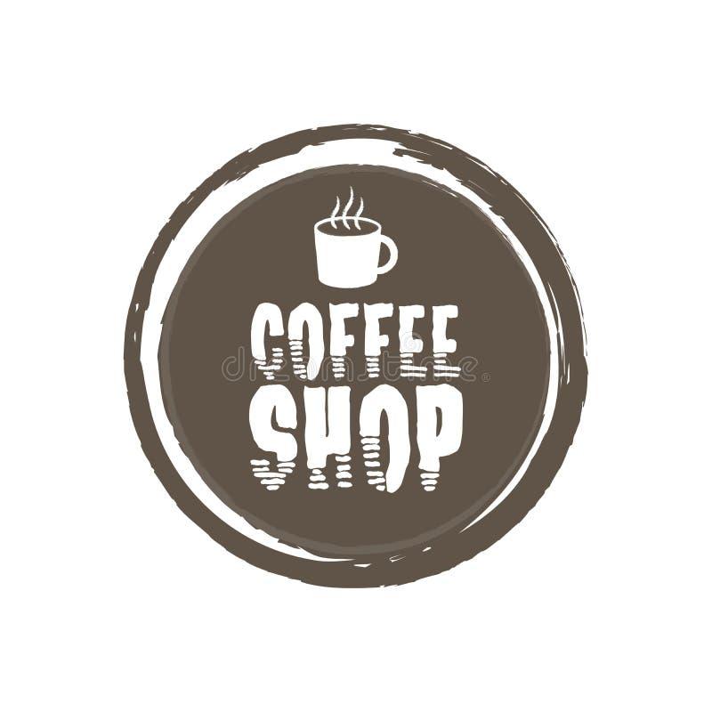 Kaffeestube-Buchstaben und Schale Grunge Kreishintergrund Auch im corel abgehobenen Betrag vektor abbildung